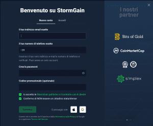 aprire conto StormGain